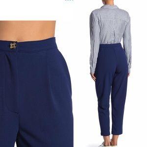Women Navy Pant High Waist Ankle Work Trouser NWT